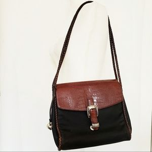 Brighton shoulder bag black brown genuine leather